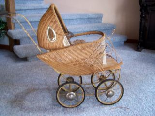 Vintage Wicker Doll Buggy With Metal Frame photo