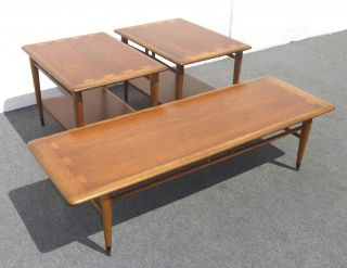Lane Acclaim Mid Century Modern Walnut Coffee Table & Two End Tables photo