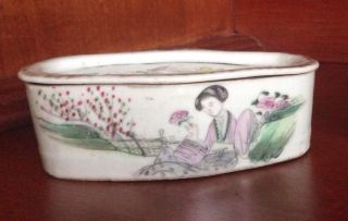 Antique Cricket Box Old Chinese Hand Painted Porcelain Famille photo