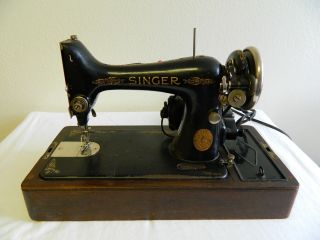 Antique Singer Sewing Machine Model 99 1925 With Case Ser Aa439211 photo