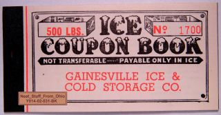Ice Coupon Booklet - Gainesville Ice And Cold Storage Company (florida) C1940 ' S photo