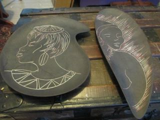 Of 2 Dykor Art South African Women Plates Wall Hanging Art Pottery Ceramic photo
