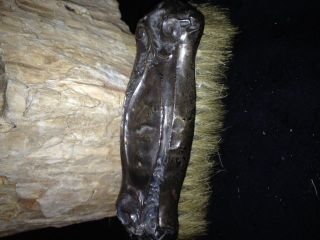 Antique Sterling Silver Ornate Bakelite Grooming Brush photo