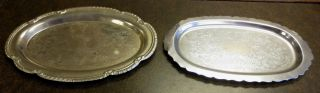2 Vintage Silverplate Ornate Trays: Hong Kong,  Scroll/scrolls Pattern: Etched photo