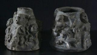 2x Antique Ceramic Pottery,  Mandinka People,  Mali West Africa,  Lion King Sunjata photo