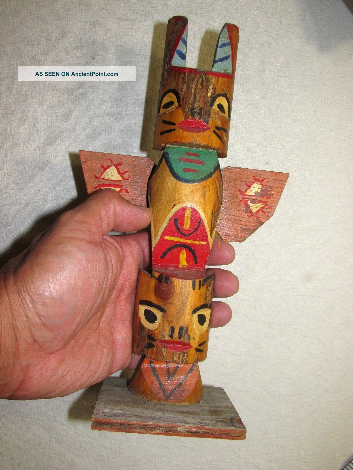 Totem Pole Native Tribal Hand Carved 10.  5 Inch Vintage Wood Antique Native American photo