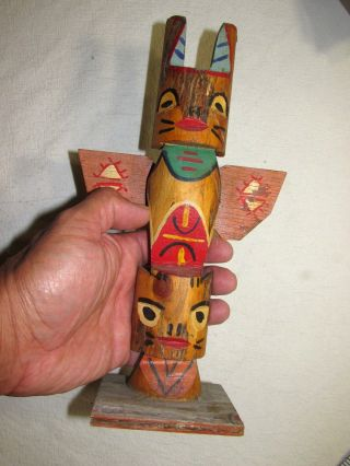 Totem Pole Native Tribal Hand Carved 10.  5 Inch Vintage Wood Antique photo