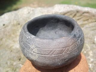 Native American Style Clay And Crushed Shell Engraved Pottery Bowl photo