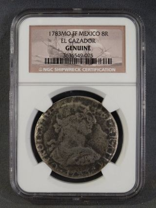 1783 Silver 8 Reales Old El Cazador Shipwreck Salvage Treasure Coin Cert Ngc Coa photo