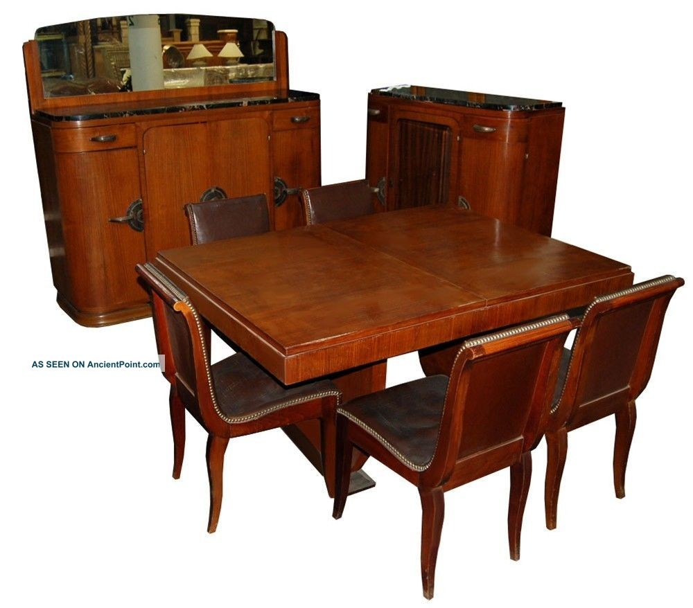 1161 11 - Pc.  Walnut Burl Deco Dining Suite C.  1920 1900-1950 photo