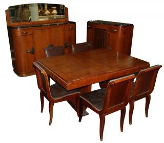 1161 11 - Pc.  Walnut Burl Deco Dining Suite C.  1920 photo