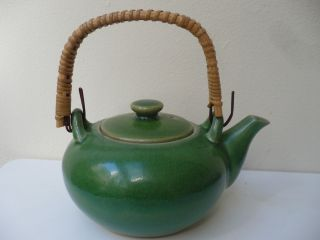 Antique Chinese H/panted Green Teapot photo