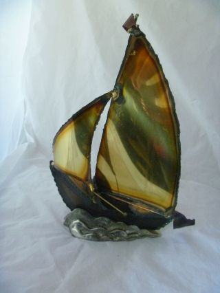 Vintage Mid Century Copper Brass Sail Boat Sculpture Ship Nautical photo