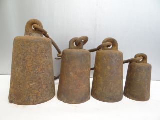 Antique 4 Old Metal Cast Iron Hanging Heavy Scale Hooked Weights Parts photo