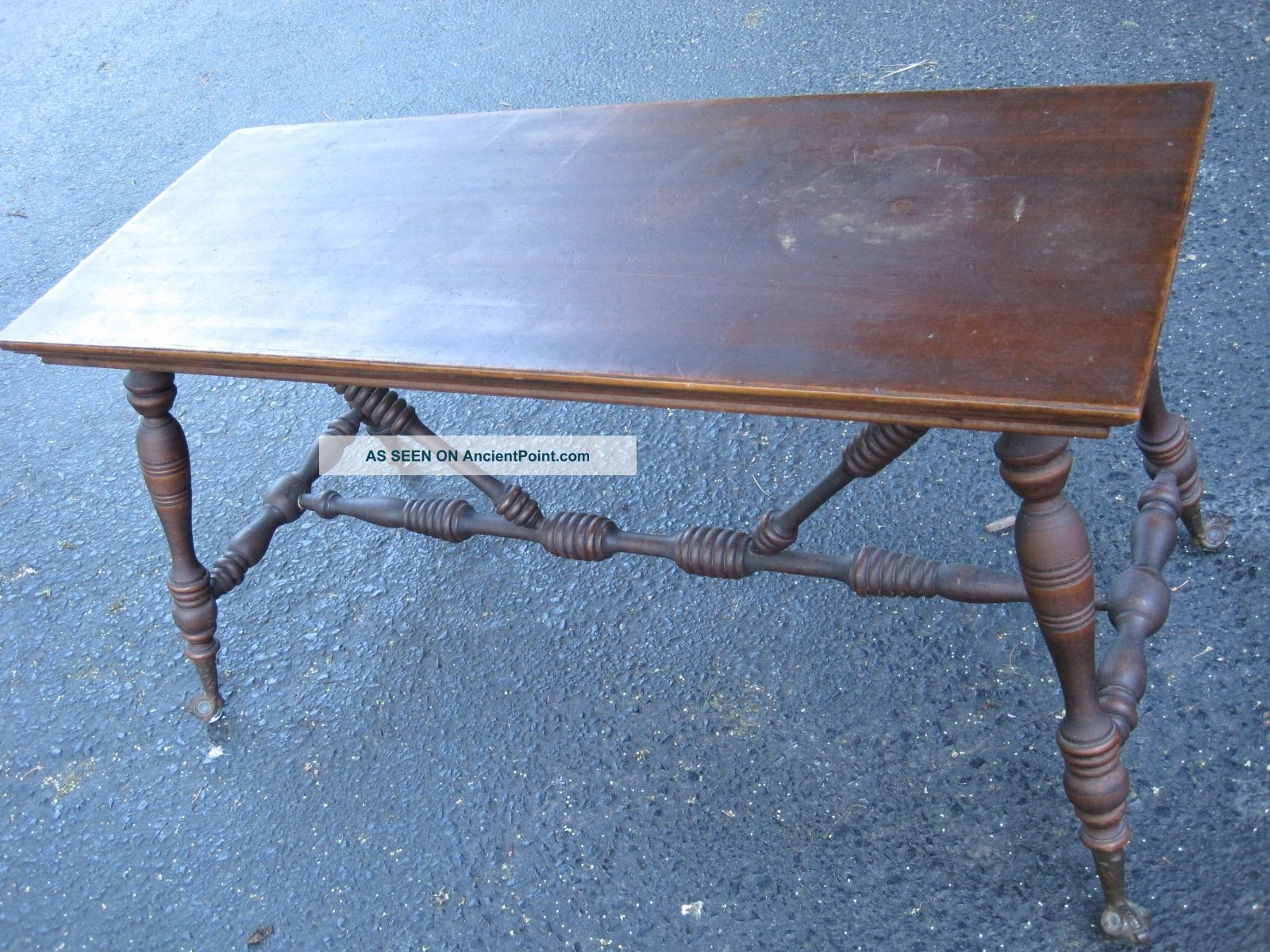 Antique Wooden Piano Bench With Cast Iron Glass Ball Claw Foot