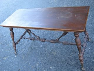 Antique Wooden Piano Bench With Cast Iron Glass Ball Claw Foot photo
