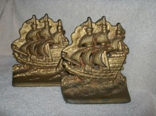 Antique Cast Iron Three Masted Sailing Ships Galleon Bookends photo