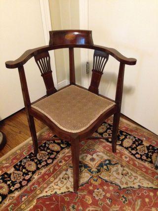 Gorgeous Antique Corner Chair Mahogany Beige Fabric Condition 1900 - 50 photo