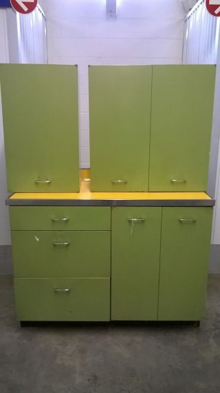 Vintage Green Metal 5 Piece Kitchen Cabinets Base Cabinet Counter Top Uppers photo
