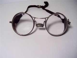 Antique A.  O.  Safety Glasses Wire Mesh Side Shields Strap 100% Steampunk photo