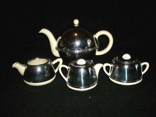 Art Deco 4 Pc Individual Ceramic,  Bakelite & Chrome. . .  England