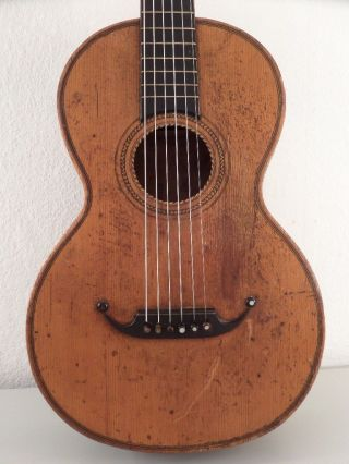 Romantic Guitar Antique Old Bass Parlor Parlour Classical Or Acustic German photo