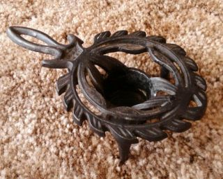 Vintage Cast Iron Trivet With Candle Holder 1 3/4 Inches Tall M1 photo