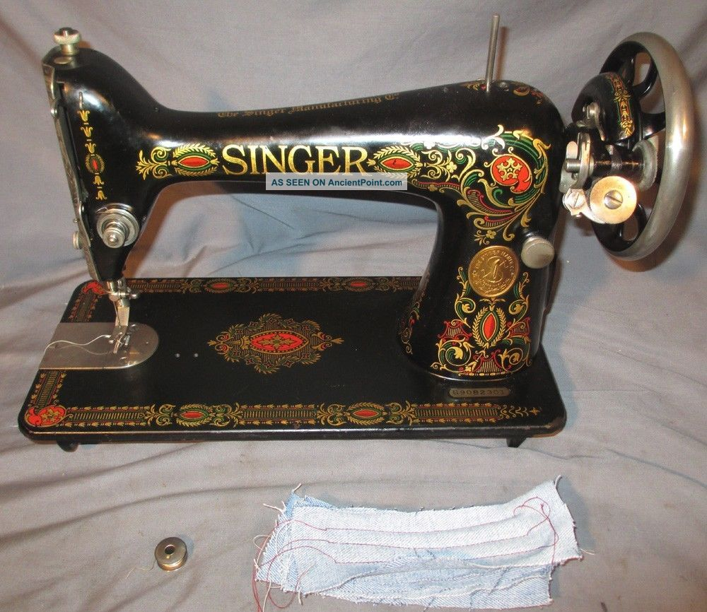 Serviced Antique 1921 Singer 66 - 1 Red Eye Treadle Sewing Machine Works See Video Sewing Machines photo