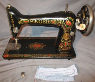 Serviced Antique 1921 Singer 66 - 1 Red Eye Treadle Sewing Machine Works See Video photo