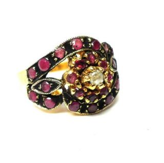 Rose Cut Diamond & Natural Ruby Gold Plated Antique Look Jewelry Ring Size 7.  25 photo