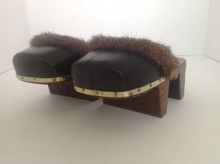 Antique Japanese Geta Shoes Clogs Fur Trim Purple Silk Velvet Strap Closed Toe photo