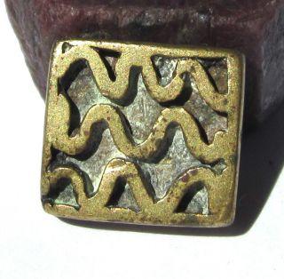 Rare Old Akan/ashanti Brass Geometric Goldweight 6mm X 15mm X 16mm photo