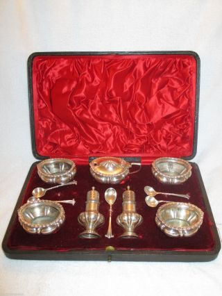 Antique English Silver Sterling Salt Pepper Mustard Spoons Set Fitted Case photo