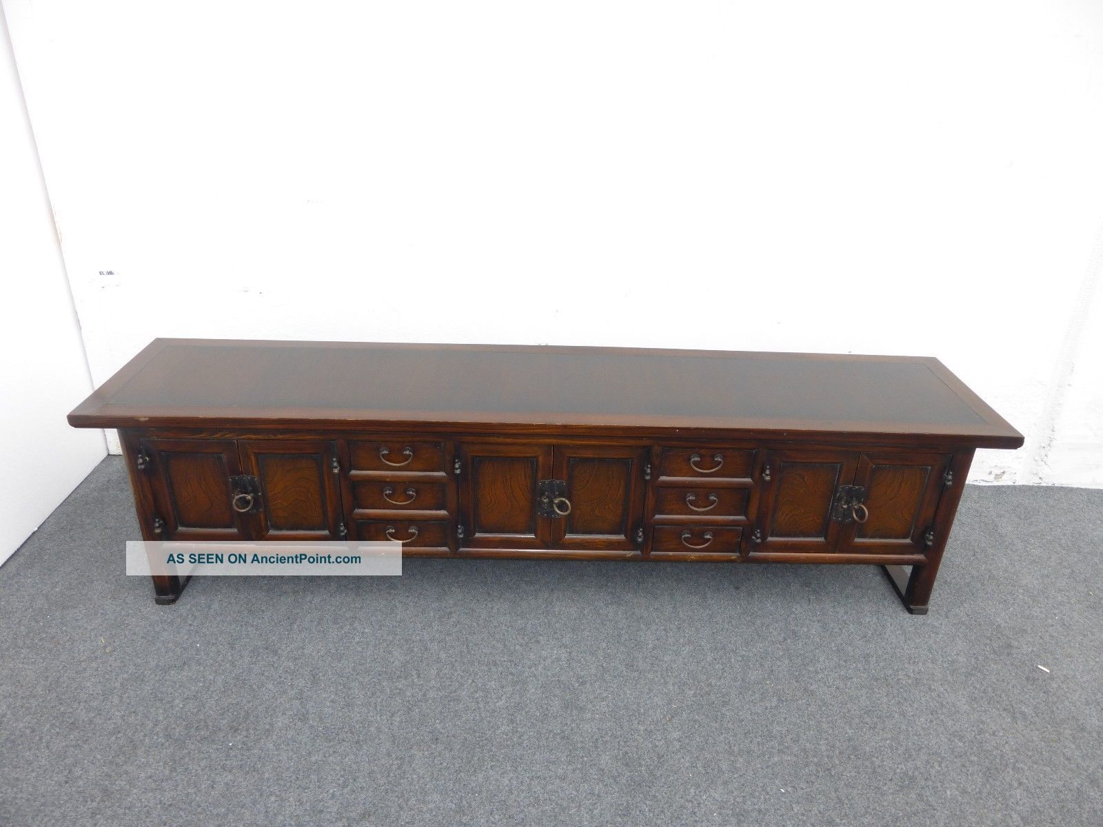 Vintage Oriental Style Long Six Drawer Three Cabinet Sideboard / Credenza Post-1950 photo