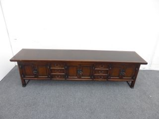 Vintage Oriental Style Long Six Drawer Three Cabinet Sideboard / Credenza photo
