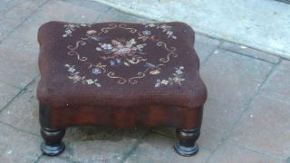 Antique Victorian Needlepoint Embroidery Footstool photo