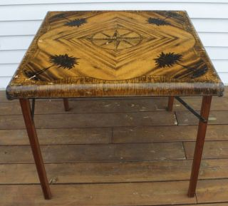 Antique Samson Card Table - Circa 1940 - South Seas Motif - Wood Frame/legs photo
