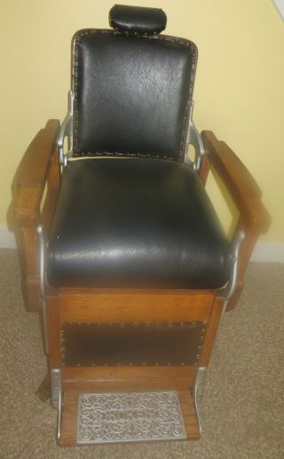 Rare 1898 - 1900 Koken Congress One Lever Barber Chair