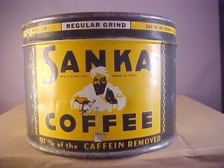 Antique Never Opened Sanka Tin photo