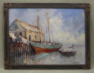 Antique Arthur Vidal Diehl Rockport Boat Harbor Impressionist Oil Painting photo