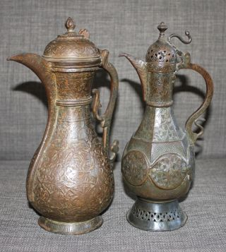 Two Antique Islamic Middle Eastern Kashmir Qajar Ewers Tinned Copper Size photo