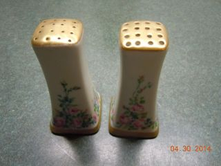 Vintage Set Of Hand Painted Floral & Gold Trim Salt & Pepper Shakers With Corks photo