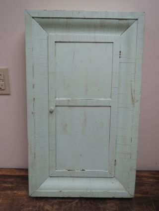 Antique Primitive Green Painted Medicine Cabinet Cupboard photo