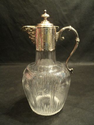 Antique Cut Crystal Jug W/ Silverplate Bacchus Spout photo