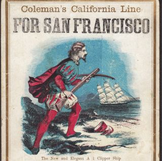 C 1850 Clipper Ship California Gold Rush William Tell Coleman ' S Line Trade Card photo