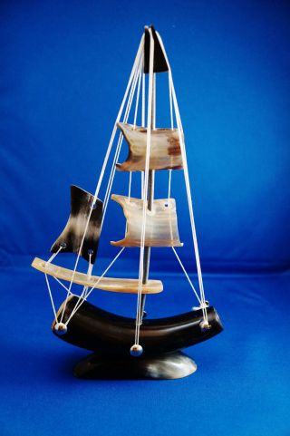 Vintage Handmade Sailboat Made Of Animal Tooth/bone photo