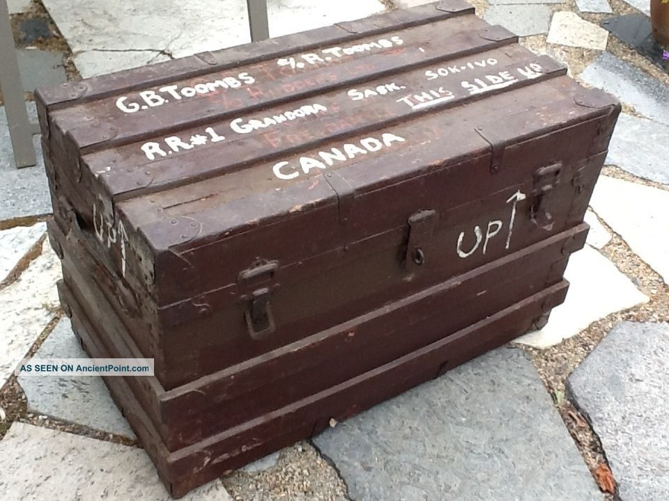 Small Vintage Settler ' S Effects Flat Top Steamer Trunk Antique Chest 1800-1899 photo