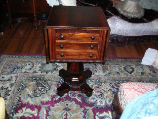 Wonderful Antique Rosewood Meeks Work Table 3 Drawers Great Pedestal And Feet photo
