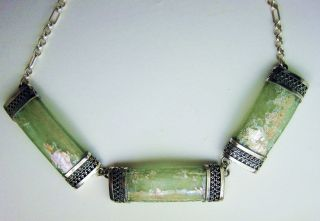 Necklace_ancient Roman Glass Set In Sterling Silver photo