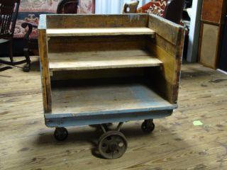 Antiq For Brimfield Industrial Factory Rail Road Cart Cast Iron Wheels Display photo